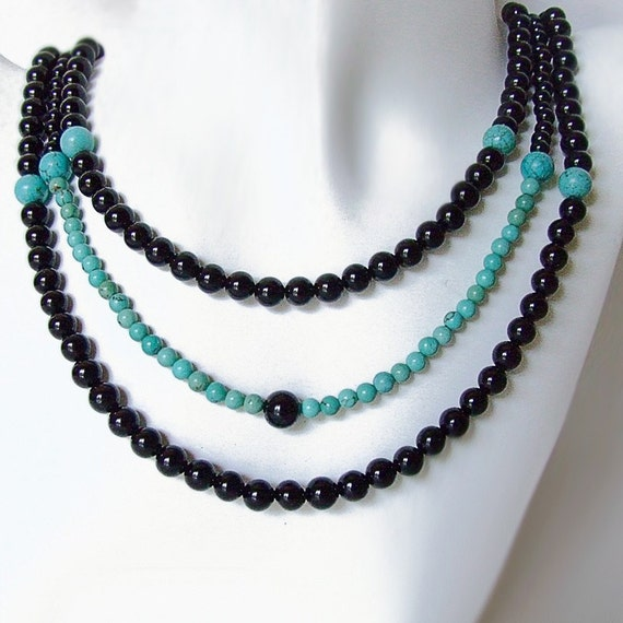Ode To Turquoise Necklace, Turquoise, Black Onyx, Sterling Silver