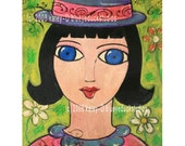 French Girl original contemporary folk art naive PAINTING by blueyeduckstudios New OLD Stock