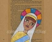 Art on Sale religious icon Easter Passion mixed media ART illustration Saint woman