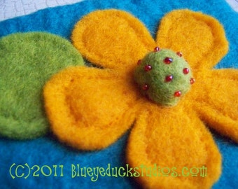 WHiMSiCaL FloWeR needle felted TEAL clutch purse BRiGHT Golden YeLLoW and LiME  DEaL oF ThE DaY