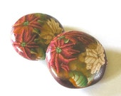 Poinsettia Beads, Lentil Polymer Clay Bead Pair 279