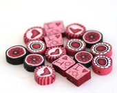 Valentines Day Beads, Polymer Clay Beads,  Pink Hearts 575