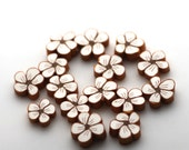 White Daisy Beads, Polymer Clay Beads, Tiny White Flowers 15 pieces