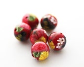 Polymer Clay Beads, Red Beads, Summer Flowers Round Beads with Bee 722