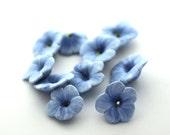 Light Blue Flowers, Flower Beads, Polymer Clay Beads 720