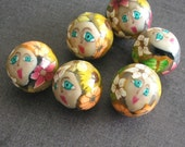 Summer Garden Polymer Clay Face Beads Set 163