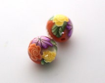 Polymer Clay Beads, Bead Pair, Summer Orange Beads