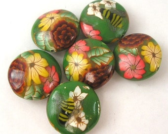 Polymer Clay Beads, Green Beads, Forest Flowers Lentil Beads 6 Pieces