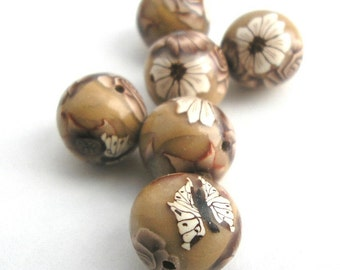 Polymer Clay Beads, Light Brown Beads, Round Beads 6 Pieces