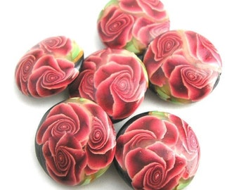 Red Rose Beads Polymer Clay Lentil Beads Made to Order