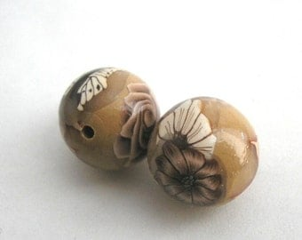 Polymer Clay Beads, Light Brown Beads, Round Bead Pair with Coffee Flowers