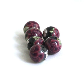 Polymer Clay Beads, Round Beads, Red Red Roses on Black Bead Made to Order