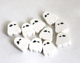 Spooky Ghost Beads, Polymer Clay Beads, White Halloween Beads, 10 Pieces