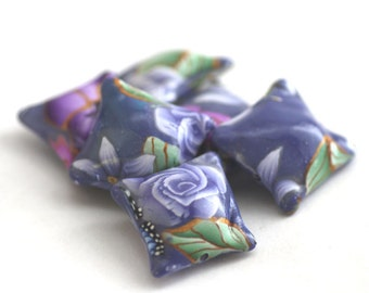 Polymer Clay Beads, Lavender Pillow Bead Set, Purple Flowers, 6 Pieces