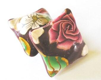 Polymer Clay Beads, Pillow Beads, Crimson Rose Beads, Bead Pair 2 Pieces