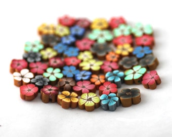 Flower Beads, Polymer Clay Beads, Rainbow Mix, Bag of 50