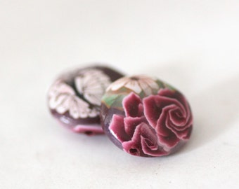 Polymer Clay Beads, Lentil Beads, Bead Pair,  Roses on Crimson 612