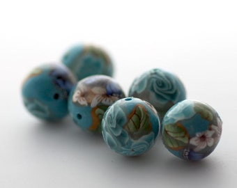 Polymer Clay Beads, Round Bead, Blue Green Beads 6 Pieces