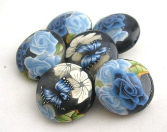 Navy Blue Beads, Polymer Clay Beads, Lentil Beads, Winterflower 362