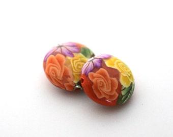 Polymer Clay Beads, Bead Pair, Bright Orange Lentil Beads 724