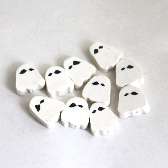 Spooky Ghost Beads Polymer Clay Slice Bead Set 498