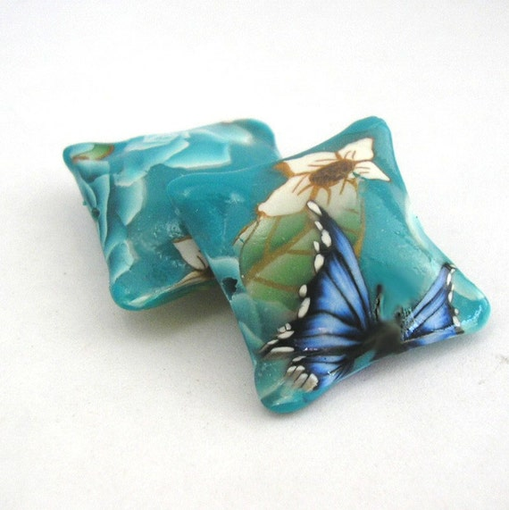 Polymer Clay Beads, Turquoise Beads, Floral Pillow Bead Pair, 2 Pieces