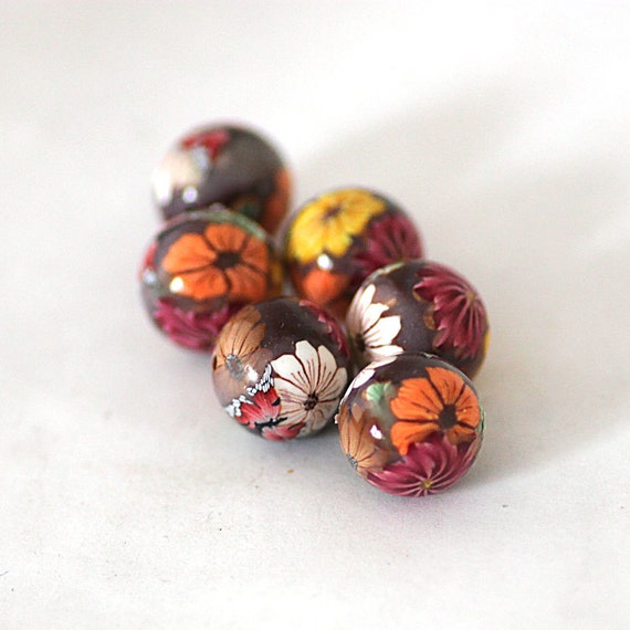Polymer Clay Beads, Harvest Flowers, Round Beads 609