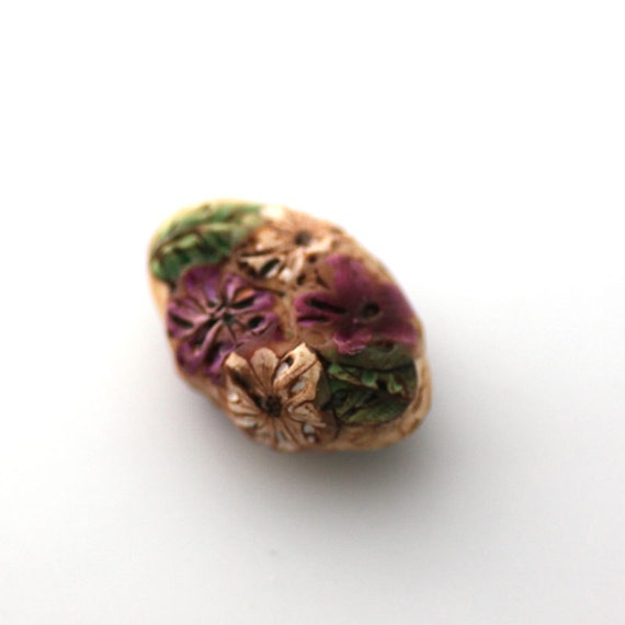 Wildflower Bead, Polymer Clay Bead, Textured Focal Bead 665