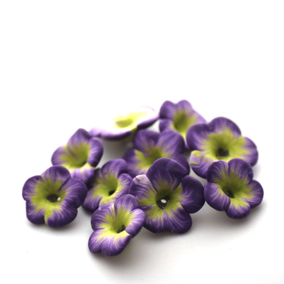 Polymer Clay Flowers, Purple Lime Beads, Tropical Flower Beads 699