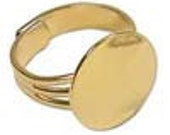 Gold Plated Adjustable Rings - 10 Pieces