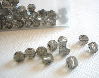 6mm Round Grey Crystal Beads - 10 Pieces