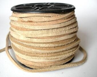 3mm Split Suede Leather Lacing - Natural Color - Bulk Spool