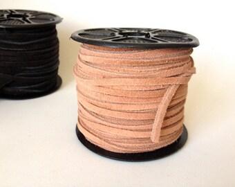 3mm Split Suede Leather Lacing - Brown Color - Bulk Spool