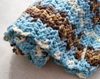 Bucktails and Blue Skies  - handmade crocheted scarf