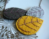 Little Leaves Necklace Charcoal, Light Grey and Mustard