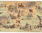1900s French Game PRINT MAP North America. Awesome early 1900s French game board print