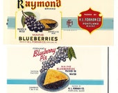 12 Old 1930's plus FRUIT PRODUCT LABELS - All Different Blueberry etc.