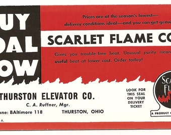 unused ink blotter advertising Scarlet Flame Coal by the Thurston Ohio Elevator Company.