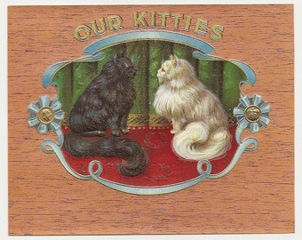 5 Old CIGAR Box LABELS Persian CATS Etc...