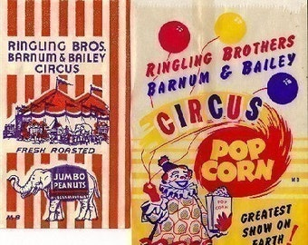 8 different Old 1950s plus Popcorn bags etc.Ringling Brothers Barnum Bailey Circus bag,Fresh Roasted Jumbo Peanuts, etc..