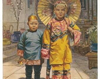 Old 1940's Art PRINT  CHINESE CHILDREN  Flohri  Artist Flohri  La. Pub. Co.