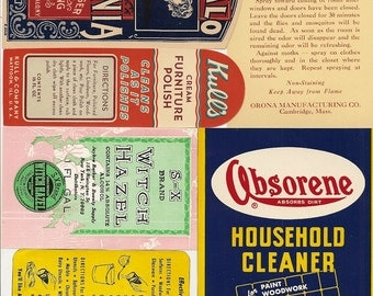 28 different Old 1920'S Plus HOUSEHOLD CLEANING Labels,BROOM,Witch Hazel,Ammonia Etc...