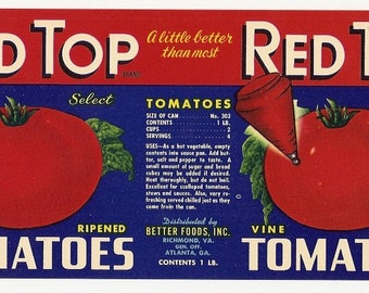 5 Old Vintage TOMATO LABELS Milroy,King's,Monarch,Red Top,Big Giant