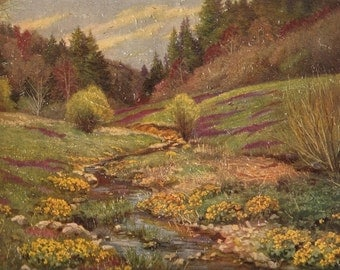 Old 1940's ART PRINT - Textured - Stream & Flowers