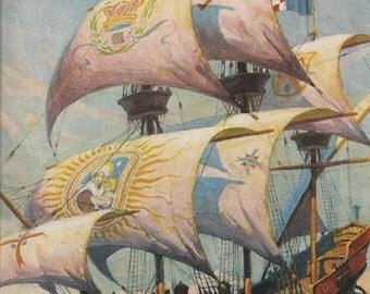 Old 1930's SHIP ART PRINT