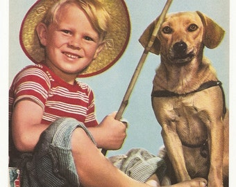"1940's vintage calendar print titled ""Buddies"". It's a boy fishing with his dog"
