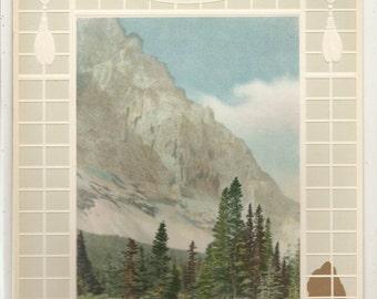 Old 1920's EMBOSSED Foot Of The Rockies ART PRINT