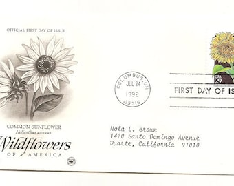 4 Old Vintage 1992 Wildflowers of America FIRST DAY Of  ISSUE Covers