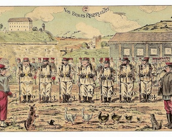 1900s French Game PRINT Our Brave Reservists.Awesome early 1900s French game board print