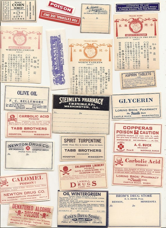 23 1920s plus Drugstore,Pharmacy ,Poison and Medicine Labels etc